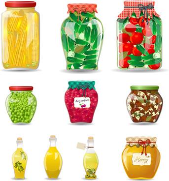 jam and jar vector set