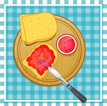 jam bread drawing dishware icon colored flat design