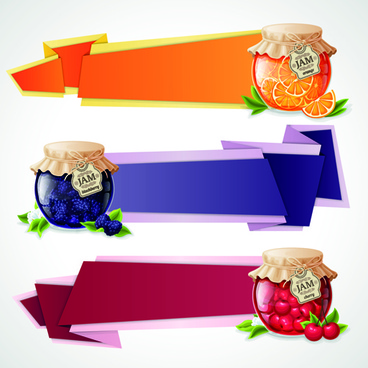 jam jar with origami banner vector