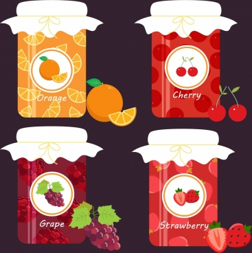 jam jars icons design various fruits icon