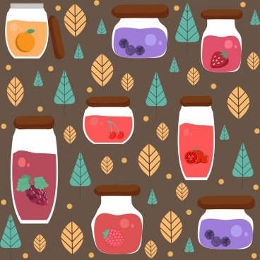 jams background jar leaves icons decor repeating design
