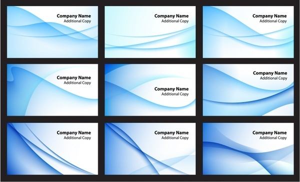name card templates abstract blue curves decor