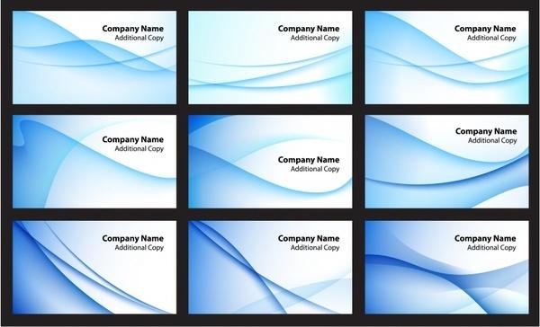 name card templates abstract blue curves decor