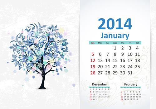 january14 calendar vector