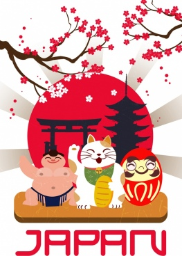 japan advertising banner sakura sumo cat sun icons