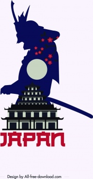 japan advertising banner samurai castle icon silhouette decor