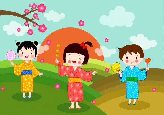 japan background kids traditional costumes colored cartoon