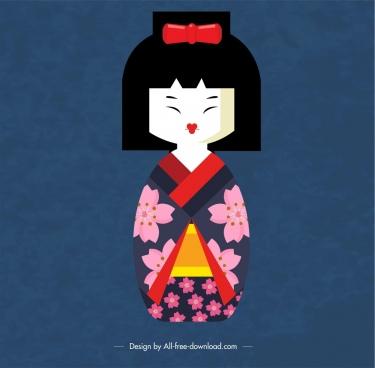 japan background kimono doll icon decor