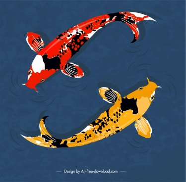 japan background koi fishes icon classical design