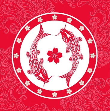 japan background red decor carp sakura icons