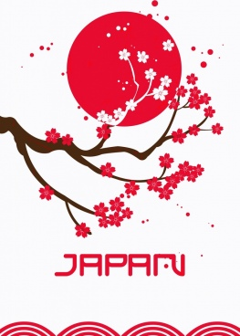 japan background sakura red sun icons decor