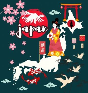 japan background various classical symbols decoration