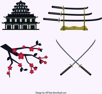 japan design elements castle sword sakura icons