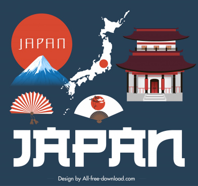 japan design elements elegant classic symbols sketch