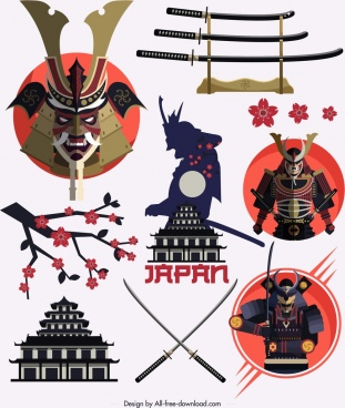 japan design elements samurai sword cherry icons