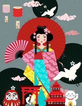 japan design elements traditional icons colored cartoon design