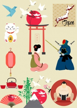 japan design elements various colored symbols
