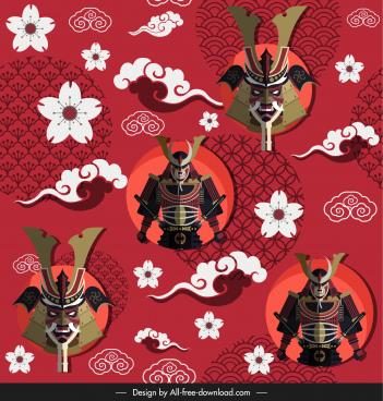 japan pattern template traditional armour sakura cloud sketch