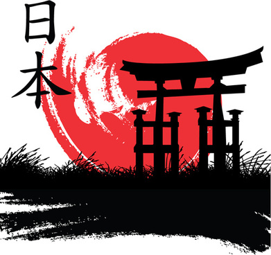 japan style elements vector graphics