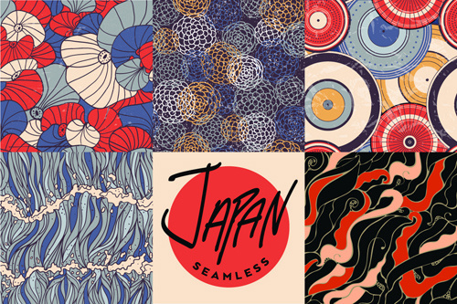 japan style vector seamless pattern
