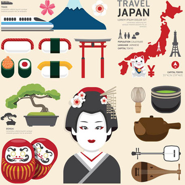 japan tourism elements vector