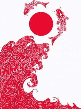 japan traditional background red design wave carps icons