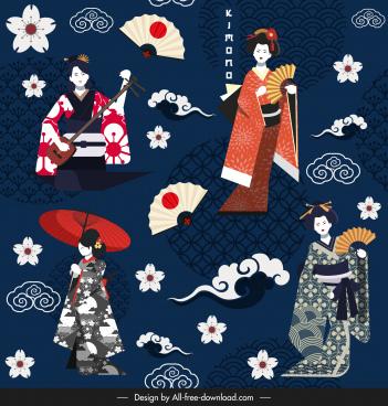 japanese pattern template classical kimono cloud sakura sketch