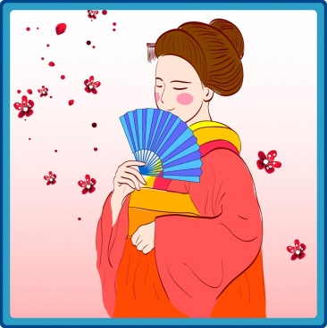 japanese woman icon colored cartoon design traditional costume