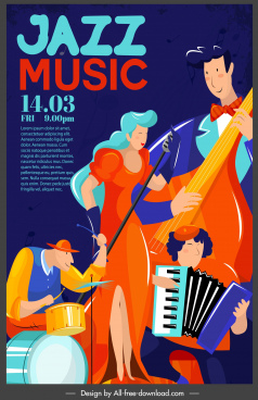 jazz advertising poster music band sketch colored classic