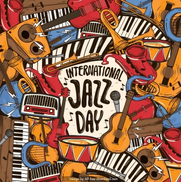 jazz banner instruments icons decor classical messy design