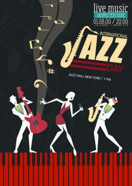 jazz banner performers music notes icons dark background