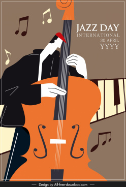 jazz banner violinist icon sketch retro decor