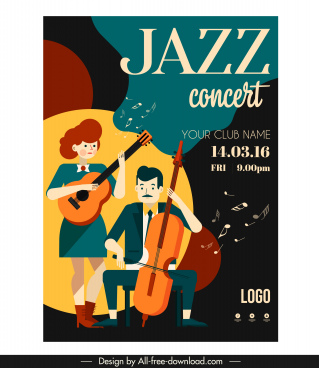 jazz concert poster guitarists icons cartoon characters sketch