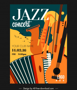 jazz concert poster instruments sketch colorful flat classic