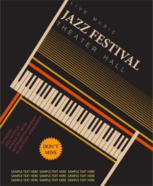 jazz festival banner black design piano keyboard icon