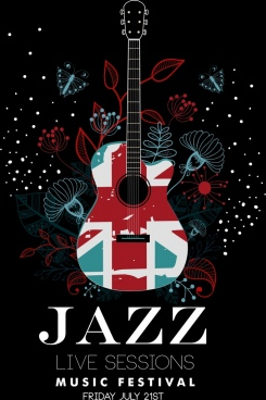 jazz festival banner guitar flower icons dark design
