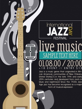 jazz festival banner guitar microphone icons dark decor