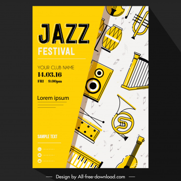 jazz festival banner instruments icons decor classical flat
