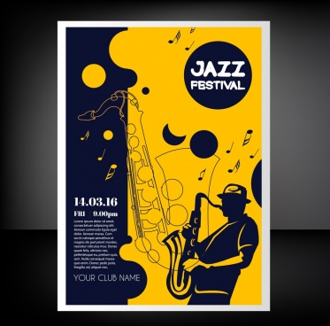jazz festival flyer trumpet icons classical silhouette sketch