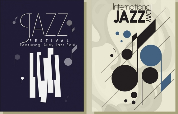 jazz festival leaflet templates music notes keyboard icons