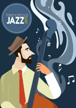 jazz festival poster man playing violin icon