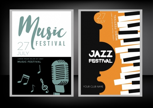 jazz festival posters notes microphone keyboard icons decor