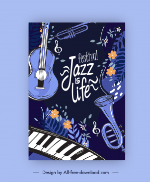 jazz festive banner classic dark instruments flora decor