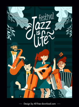 jazz festive banner orchestra sketch cartoon characters