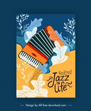 jazz festive poster classic accordion leaves decor