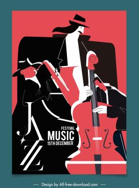 jazz festive poster dark retro flat sketch