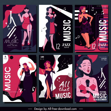 jazz festive posters singer sketch classical dark design