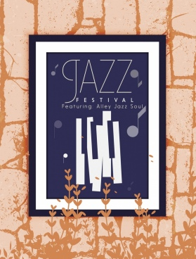 jazz music banner picture frame icons classical design