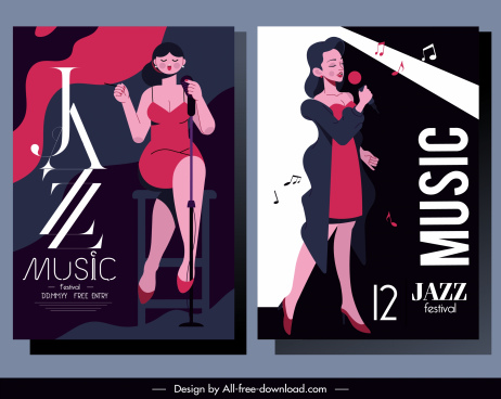 jazz music banners lady singer sketch classic design