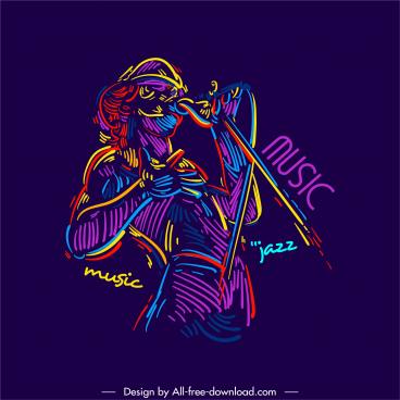 jazz music icon retro colorful handdrawn sketch